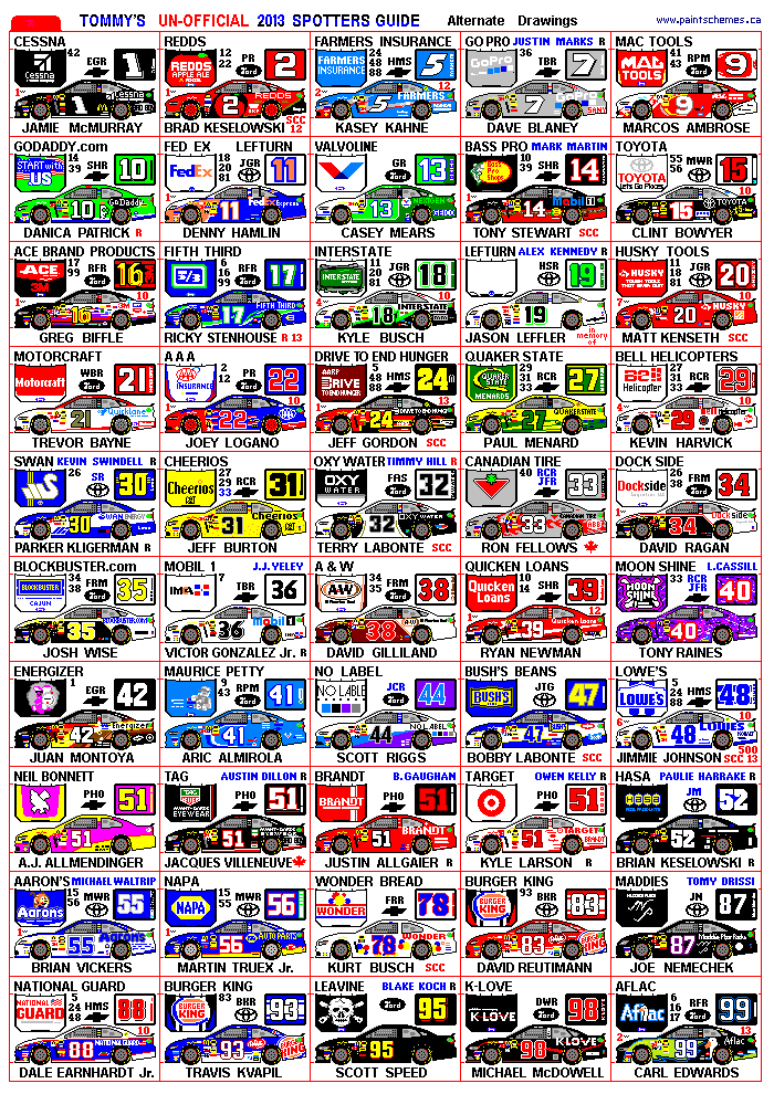 NASCAR Spotter Guide in addition 2016 NASCAR Paint Schemes Daytona 500 ...